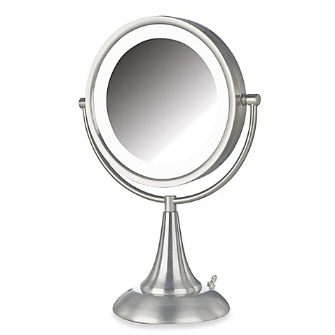 Jerdon 8X 1X LED 15 Inch Lighted Vanity Mirror in Brushed