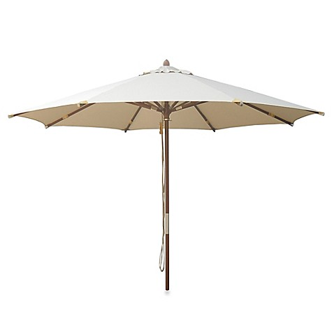 10 Foot Round Deluxe Eucalyptus Wood Patio Umbrella