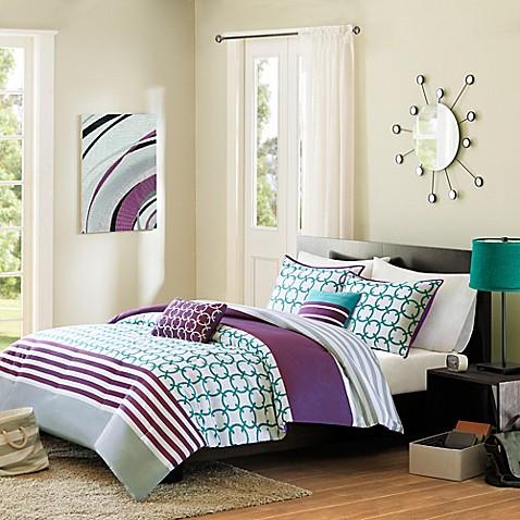 Halo Reversible Comforter Set in Teal - Bed Bath & Beyond