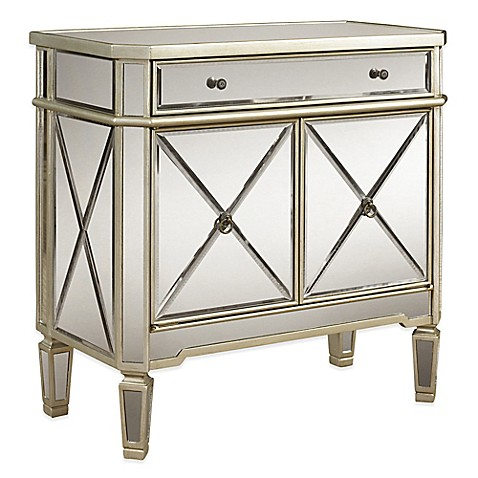 Great Image Of Powell Mirrored 1 Drawer 2 Door Console