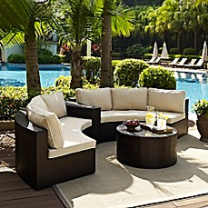 image of Crosley Catalina 4-Piece Wicker Seating Set in Sand