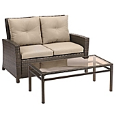 barrington 2piece wicker loveseat set in sand