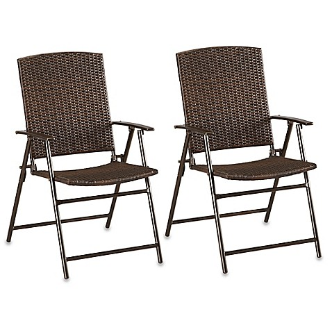 Barrington Wicker Bistro Folding Chairs In Brown (Set Of 2)