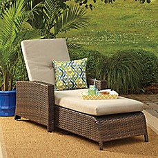 image of barrington wicker padded chaise lounge