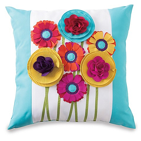 Embellished Floral Bouquet Outdoor Throw Pillow Bed Bath