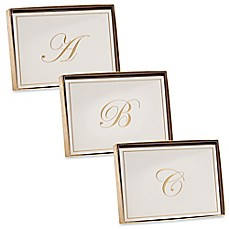 image of Caspari Gold-Embossed Letter Note Cards (Set of 8)