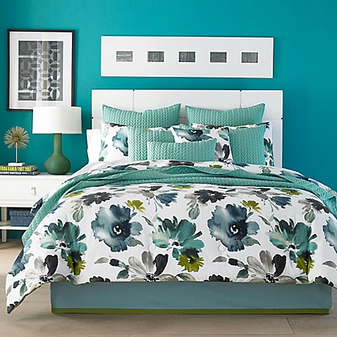 j by j queen new york midori comforter set in teal - J Queen New York Bedding