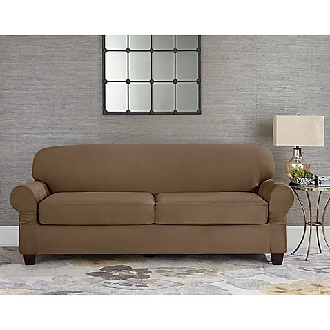 Sure Fit® Designer Suede Individual Cushion 2 Seat Sofa Slipcover