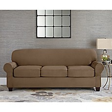 Charming Sure Fit® Designer Suede Individual Cushion 3 Seat Sofa Slipcover