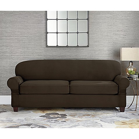 buy sure fit designer suede individual cushion 2 seat sofa slipcover in chocolate from bed bath. Black Bedroom Furniture Sets. Home Design Ideas