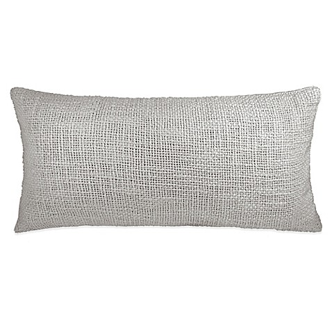 Dkny Loft Stripe Woven Oblong Throw Pillow In Grey Bed
