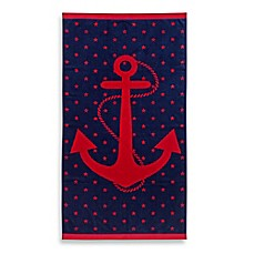 image of jacquard anchor and star oversized beach towel - Red And Black Print Bath Towels
