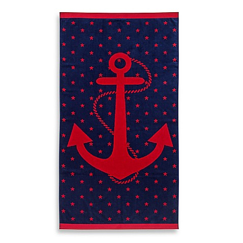 image of jacquard anchor and star oversized beach towel - Beach Towel