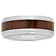 image of Stainless Steel Wood Grain Carbon Fiber Inlay Men's Wedding Band