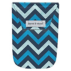 image of Diapees & Wipees Laminated Storage Bag with Wipes Case in Blue Chevron
