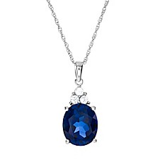 image of Sterling Silver Created Blue and White Sapphire Trio 18-Inch Chain Oval Pendant Necklace