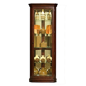 Image Of Pulaski Mirrored Corner Curio In Victorian Cherry