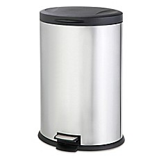 image of salt stainless steel oval 40liter step trash can