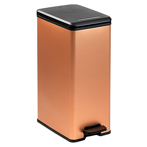 buy curver 40 liter slim metallic trash can in copper from bed bath beyond. Black Bedroom Furniture Sets. Home Design Ideas