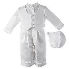 image of Boy's White Satin Christening Outfit with Hat and Tie by Lauren Madison