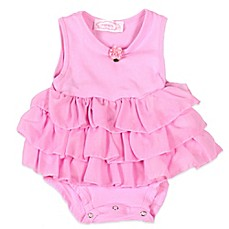 image of POPATU® 3-Tier Ruffled Sleeveless Bodysuit in Pink with Rose Detail