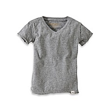 image of Burt's Bees Baby™ Organic Cotton Short Sleeve V-Neck T-Shirt in Heather Grey