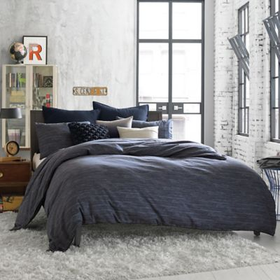 image of Kenneth Cole Reaction Home Element Reversible Duvet Cover in Indigo