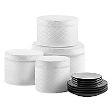 image of SALT Quilted 4-Piece Plate Case Set in White