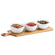image of B. Smith® 4-Piece Wooden Paddle Board and Ceramic Bowl Serving Set