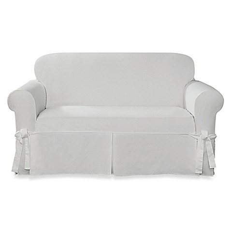 Buy sure fit designer twill loveseat slipcover in white from bed bath beyond White loveseat slipcovers
