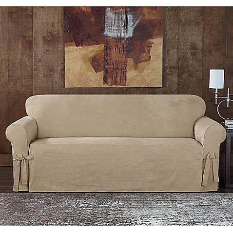 sure fit designer sueded twill furniture slipcovers bed bath u0026 beyond