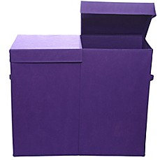 image of Modern Littles Folding Double Laundry Basket in Color Pop Purple