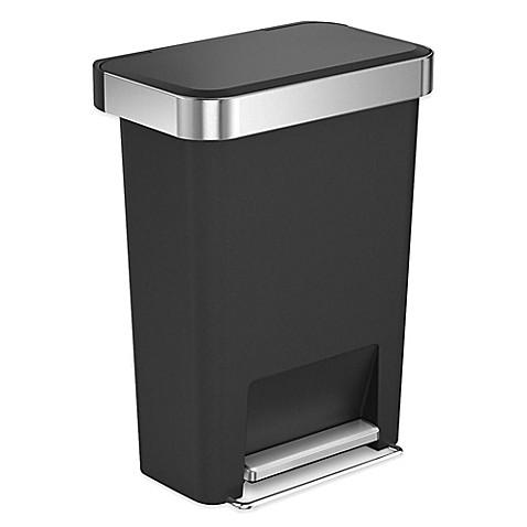 buy simplehuman 45 liter plastic rectangular step trash can with liner pocket in black from bed. Black Bedroom Furniture Sets. Home Design Ideas