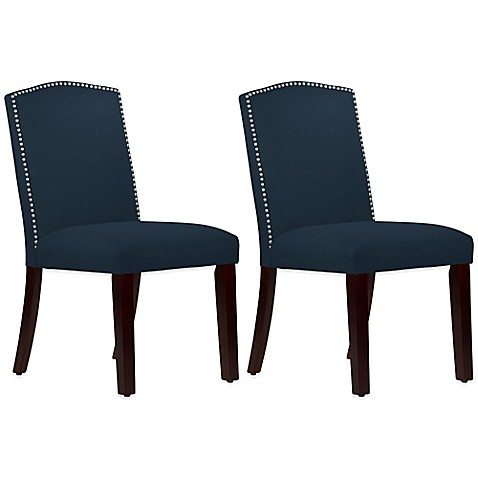 Buy Roseyln Nail Button Arched Dining Chairs In Linen Navy