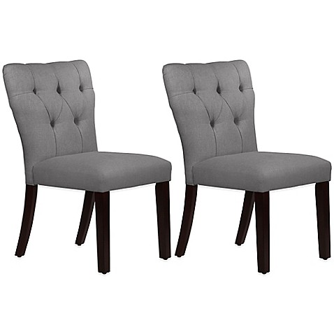 Incroyable Skyline Furniture Violeta Tufted Hourglass Dining Chairs In Linen Grey (Set  Of 2)