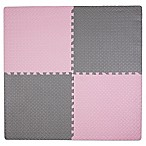 image of Tadpoles™ by Sleeping Partners 4-Piece Steel Plate Play Mat in Pink/Grey