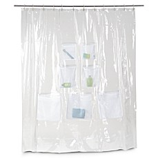 image of Vinyl Shower Curtain with Mesh Pockets