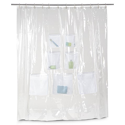 Attractive Vinyl Shower Curtain With Mesh Pockets