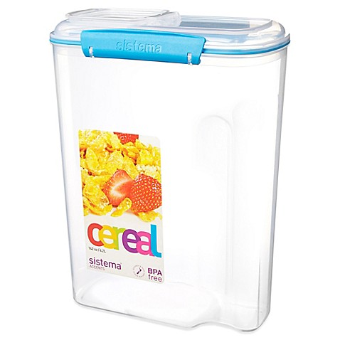 Buy sistema klip it 4 2 liter cereal container in blue for Cereal organizer