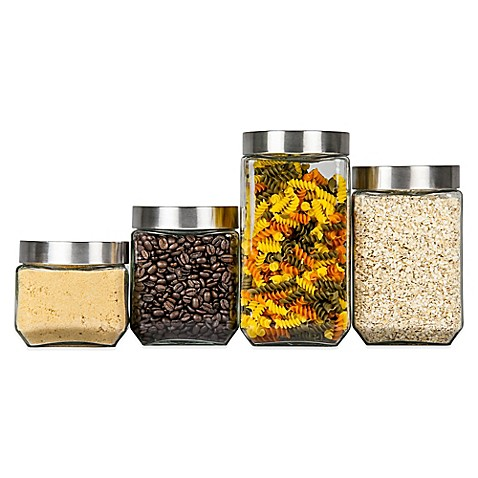 Image Of Home Basics 4 Piece Glass Square Canister Set