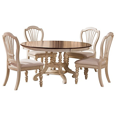 Hillsdale pine island oval dining set with wheat back for White oval back dining chair