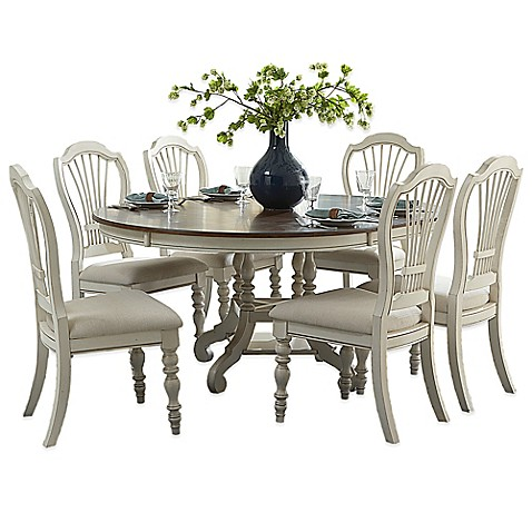 Buy Hillsdale Pine Island 7 Piece Round Dining Set With Wheat Back Chairs In