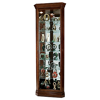 Image Of Howard Miller Drake Corner Curio In Cherry Bordeaux