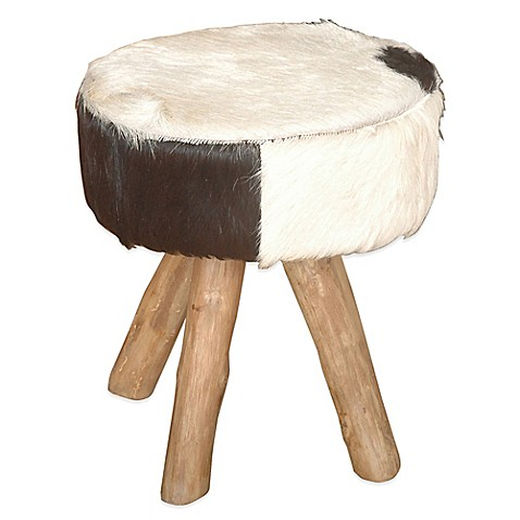 Jeffan Round Natural Hide Stool In Black White Bed Bath