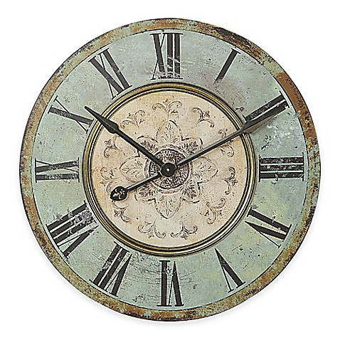 Image of large distressed wood wall clock in blue green