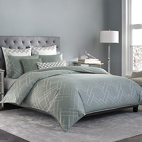 salinas duvet cover in mist bed bath beyond. Black Bedroom Furniture Sets. Home Design Ideas