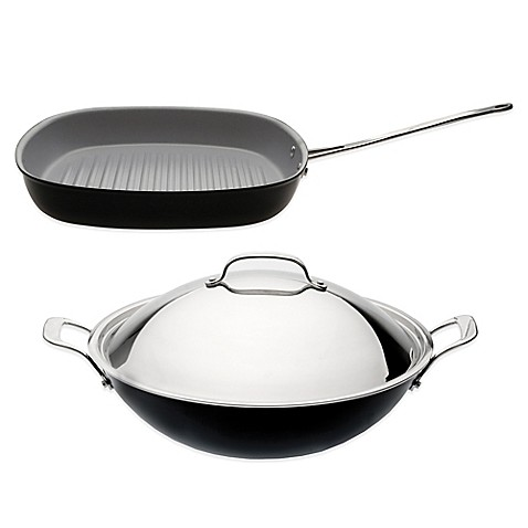 Berghoff 174 3 Piece Covered Wok And Grill Pan Cookware Set