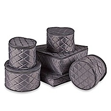 ORG Quilted 6 Piece China Storage Set In Grey