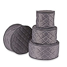Beautiful ORG Quilted 4 Piece Plate Case Set In Grey