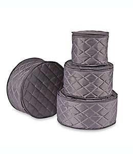 Protectores .ORG acolchados para platos en gris, Set de 4